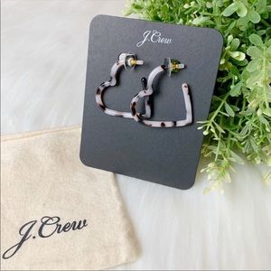 J. Crew | Heart Hoop Earrings Natural Turtle Print